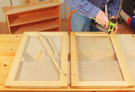 DIY kitchen glass cabinet doors projects