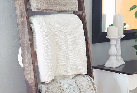 ladder for blankets Easy DIY Home Improvement Projects